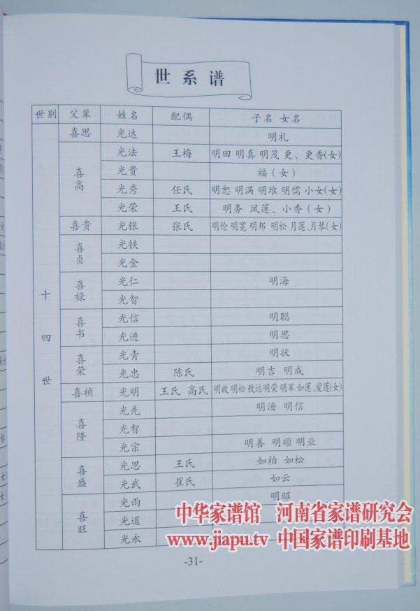 河南沁阳王氏家谱采用的编修格式